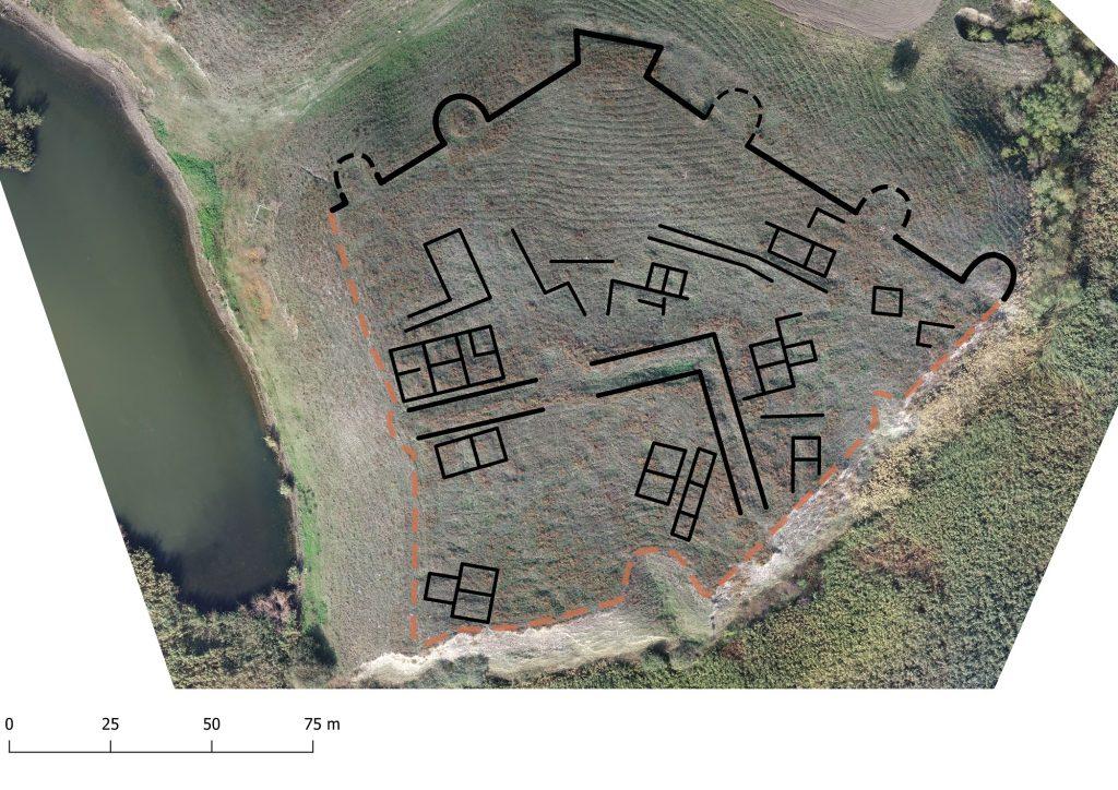Gârliciu (Cius) - plan reconstituit suprapus pe ortofotografie