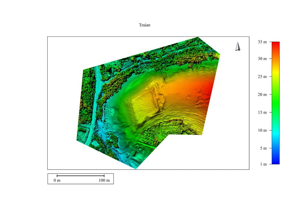 Traian, quadriburgium - model digital al terenului
