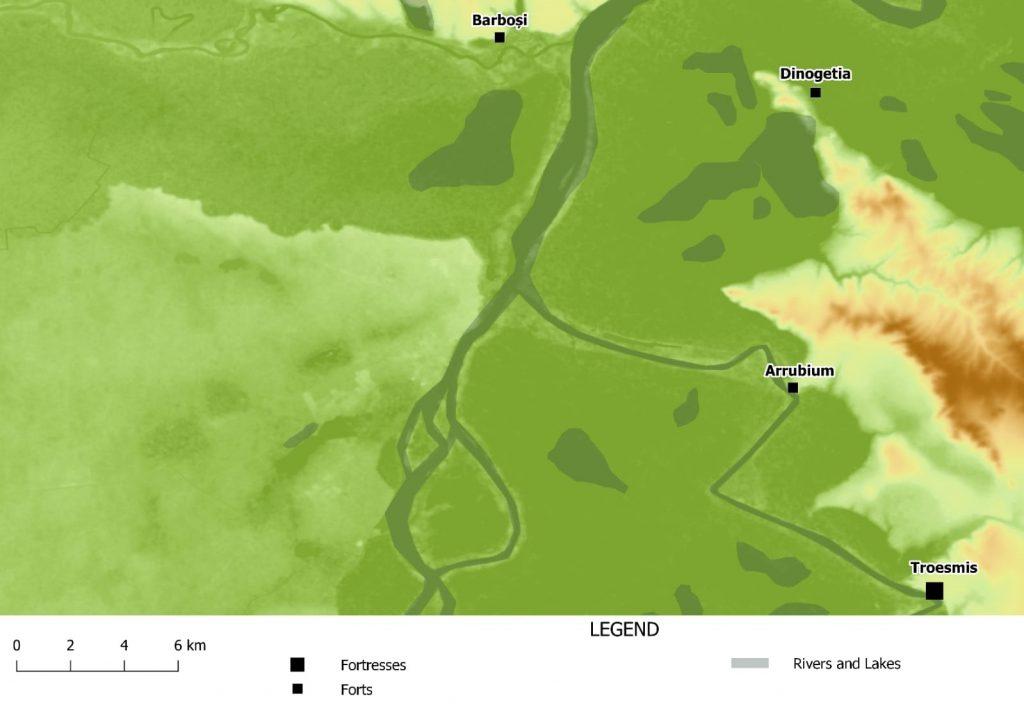 Dinogetia - harta amplasării siturilor din zona curburii Dunării