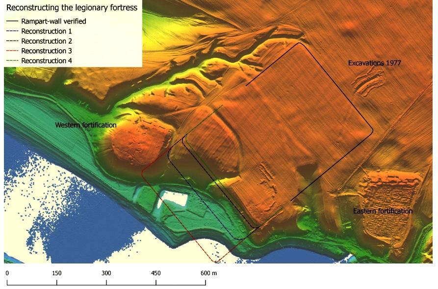 Troesmis, model digital al terenului cu marcarea castrului legionar și fortificațiilor romane târzii