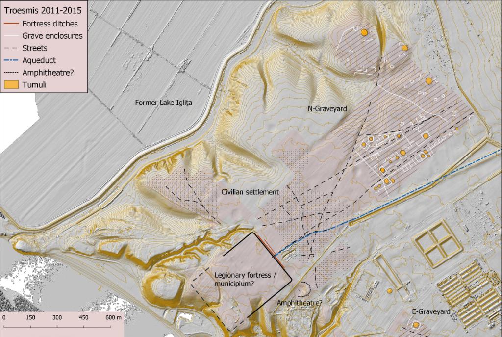 Troesmis, planul castrului legionar și fortificațiilor romane târzii
