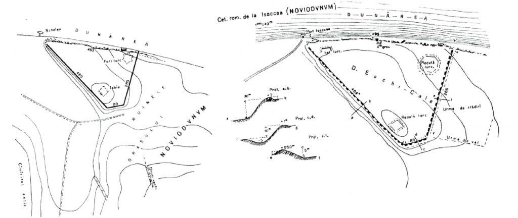 Noviodunum - planul fortificațiilor după Noviodunum (planuri Stefan 1973, 9 fig. 6)