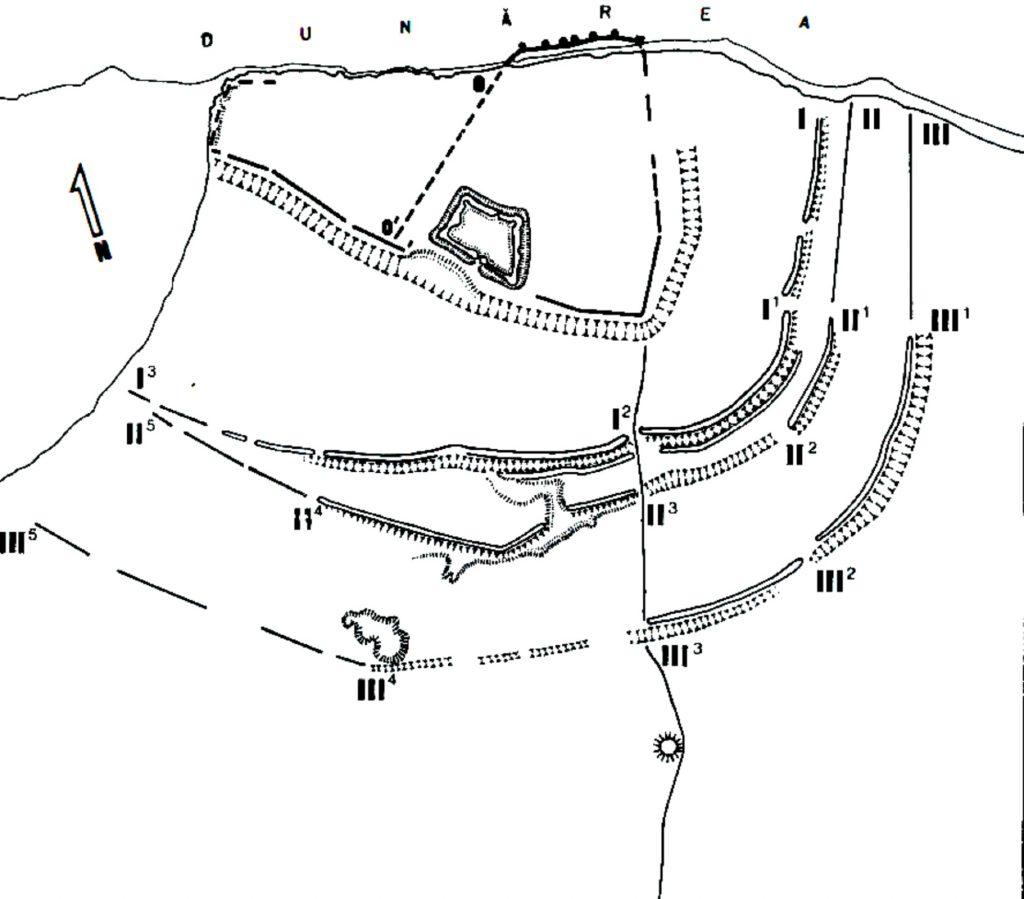 Noviodunum - planurile cetății realizate de P. Polonic (după. Stefan 1973, 5 fig. 2-3)