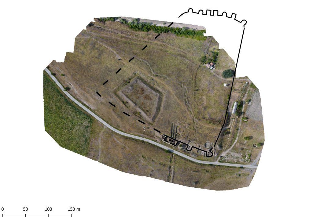 Noviodunum - planul fortificației romane referențiat pe ortofotoplan 2019